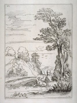 Landscape with Three Figures by a Tree, no. 42 from the Cabinet du Roi