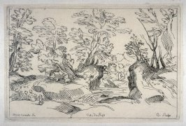Landscape with Two Figures and a Dog, from the Cabinet du Roi