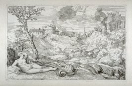 Landscape with a Nude Woman Guarded by a Dragon, from the Cabinet du Roi