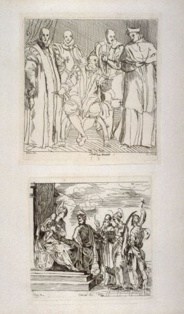 Charles Quint and his Advirors, and Virgin and Child with Saints, from the Cabinet du Roi (two prints mounted together)
