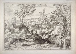 Wooded Landscape with Man Leaning on a Rock, from the Cabinet du Roi