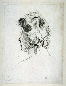 Head of a Man Facing Away, from Recueil de Testes d'Antoine Van Dyck