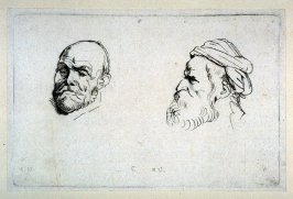 Studies of Two Male Heads, nos. 7 and 8 from Recueil de Testes d'Antoine Van Dyck