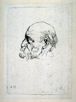 Head of Balding Old Man in Profile, from Recueil de Testes d'Antoine Van Dyck