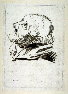 Head of a Man Looking Upward, no. 29 from Recueil de Testes d'Antoine Van Dyck
