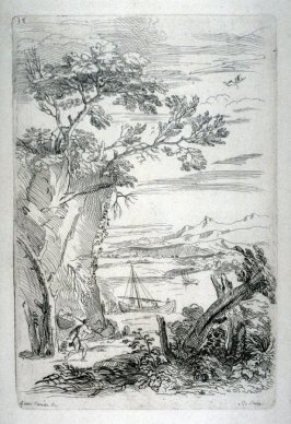 Landscape with Cliffs and a Fisherman, from the Cabinet du Roi