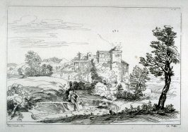 Landscape with man sitting on bank, from the Cabinet du Roi