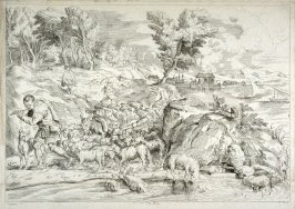Landscape with Shepherd Playing the Flute, from the Cabinet du Roi