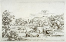 Landscape with a River and Two Men in a Boat, from the Cabinet du Roi