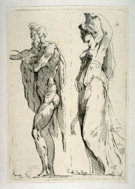 Study of an Old Man and a Woman with a Vase on her Head, from the Cabinet du Roi