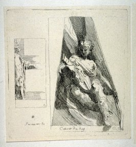 Two Studies of Female Figures, One Playing a Violin, from the Cabinet du Roi