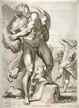 Polyphemus Throwing a Rock at His Rival, Acis,after Annibale Carracci, pl. 8 from the series The Farnese Gallery