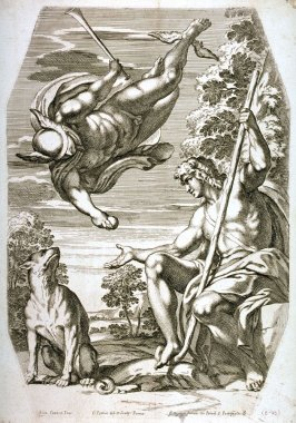 Mercury Bringing the Golden Apple to Paris, after Annibale Carracci, pl.3 from the series The Farnese Gallery