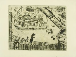 """La Petite Ville"" ( The Little Town), plate III, in the book Les Âmes mortes (Dead Souls) by Nicolas Gogol (Paris: Tériade Éditeur, 1948), vol. 1 of 2"