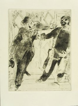 """Manilov Et Tchitchikow Sur Le Seuil De La Porte"" (Manilov and Chichikow on the Threshold), plate IX, in the book Les Âmes mortes (Dead Souls) by Nicolas Gogol (Paris: Tériade Éditeur, 1948), vol. 1 of 2"