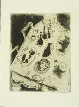 """La Table Chargée De Victuailles"" (The Groaning Table), plate XXXV, in the book Les Âmes mortes (Dead Souls) by Nicolas Gogol (Paris: Tériade Éditeur, 1948), vol. 1 of 2"