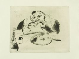"""Sobakévitch À Table"" (Sobakevich at Table), plate XXXVI, in the book Les Âmes mortes (Dead Souls) by Nicolas Gogol (Paris: Tériade Éditeur, 1948), vol. 1 of 2"