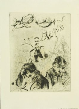 """Gogol Et Chagall,"" plate XLVIII, frontispiece, in the book Les Âmes mortes (Dead Souls) by Nicolas Gogol (Paris: Tériade Éditeur, 1948), vol. 2 of 2"