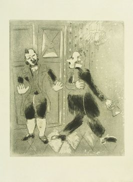 """Le Suisse Ne Laisse Pas Entrer Tchitchikov"" (The Porter Refuses to Let Chichikov in), plate LXXVI, in the book Les Âmes mortes (Dead Souls) by Nicolas Gogol (Paris: Tériade Éditeur, 1948), vol. 2 of 2"