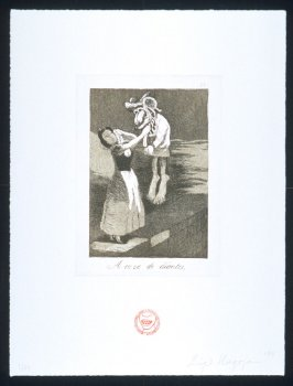 A caza de dientes, one of eight plates in the portfolio The Return to Goya's Caprichos