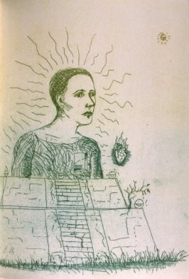 """Untitled, illustration for the poem, """"The Idol in the Porch,"""" on page 73 in the book The Bread of Days/El pan de los dias (Covelo, California: Yolla Bolly Press, 1994)"""