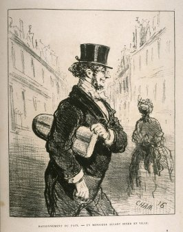 Rationnement du pain.—Un monsieur allant diner en ville. (Bread rationing—A gentleman goes to dine in town), twentieth plate in the book, Album du Siége