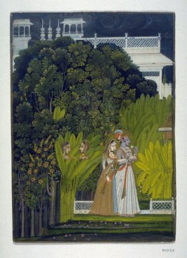 Raja Savant Singh and Bani Thani as Krishna and Radha Strolling in a Palace Garden