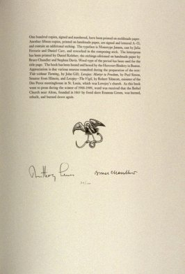 Untitled (symbol of the Heron Press), colophon page in the book Lovejoy: Excerpts from a Memoir... by Bruce Chandler with an epilogue by Anthony Lewis (Boston: Heron Press, 1988)
