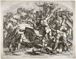 Battle of Romans and Israelites, plate 39 from Sacrae Historiae Acta