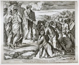 Moses Shows the Tablets with the Ten Commandments to the People, plate 36 from Sacrae Historiae Acta