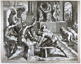 Herod Supervising the Construction of the Temple, plate from Sacrae Historiae Acta