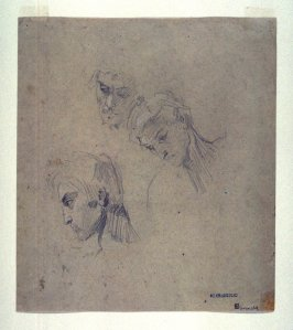 Three studies of head of Arab (recto)
