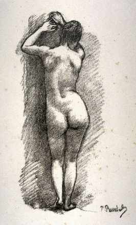 Standing nude woman, head resting on upraised right arm, viewed from back