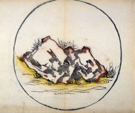 Squarish rock in a stream, No.2 from the Volume on Round Fans - from: The Treatise on Calligraphy and Painting of the Ten Bamboo Studio