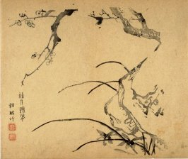Plum and Orchids, No.17 from the Volume on Plums - from: The Treatise on Calligraphy and Painting of the Ten Bamboo Studio