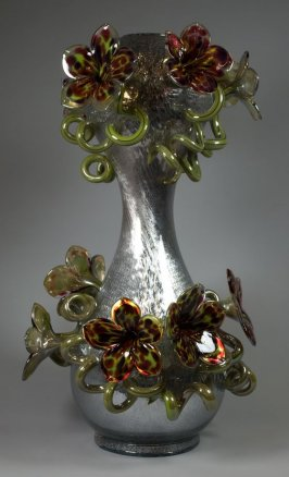 Silvered Venetian with Spring Green and Wine Spotted Flowers