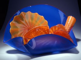 "Ultramarine Stemmed Form with Orange (""Persian"" series)"