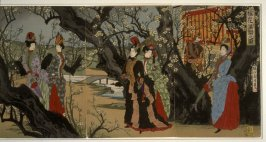 Plum Trees in Full Bloom, the Meji Emperor, Empress and Women of the Nobility
