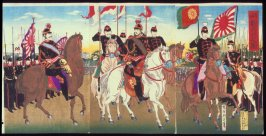 Meiji Emperor and His Officers Attended by the Troops
