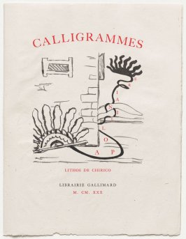 Title page, in the book Calligrammes by Guillaume Apollinaire (Paris: Librairie Gallimard, 1930)