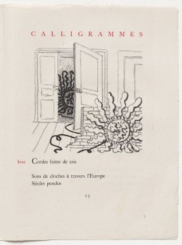 """liens,"" pg. 15, in the book Calligrammes by Guillaume Apollinaire (Paris: Librairie Gallimard, 1930)"