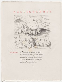 """les collines,"" pg. 22, in the book Calligrammes by Guillaume Apollinaire (Paris: Librairie Gallimard, 1930)"