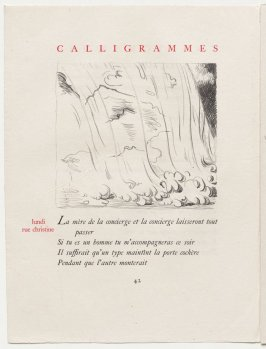 """lundi rue christine,"" pg. 42, in the book Calligrammes by Guillaume Apollinaire (Paris: Librairie Gallimard, 1930)"