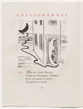 """""""veille,"""" pg. 92, in the book Calligrammes by Guillaume Apollinaire (Paris: Librairie Gallimard, 1930)"""