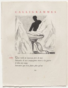 """ombre,"" pg. 94, in the book Calligrammes by Guillaume Apollinaire (Paris: Librairie Gallimard, 1930)"