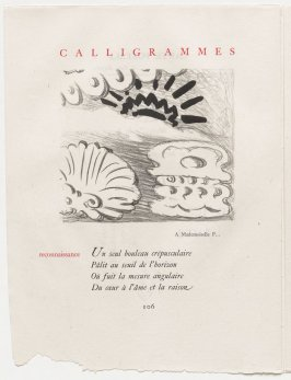 """reconnaissance,"" pg. 106, in the book Calligrammes by Guillaume Apollinaire (Paris: Librairie Gallimard, 1930)"