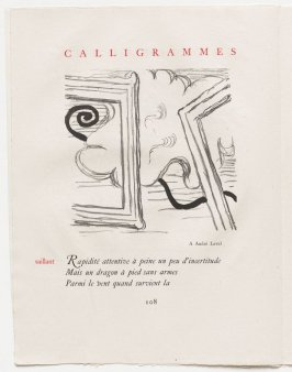 """""""saillant,"""" pg. 108, in the book Calligrammes by Guillaume Apollinaire (Paris: Librairie Gallimard, 1930)"""