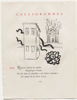 """guerre,"" pg. 110, in the book Calligrammes by Guillaume Apollinaire (Paris: Librairie Gallimard, 1930)"