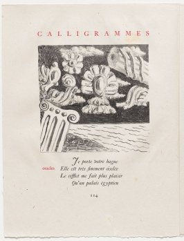 """oracles,"" pg. 114, in the book Calligrammes by Guillaume Apollinaire (Paris: Librairie Gallimard, 1930)"