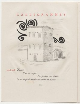 """vers le sud,"" pg. 122, in the book Calligrammes by Guillaume Apollinaire (Paris: Librairie Gallimard, 1930)"